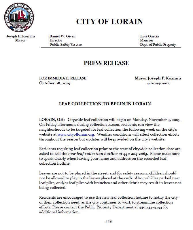 Press Release Leaf Collection